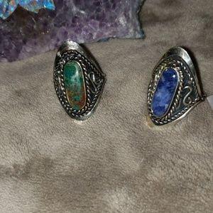 Semi precious stone rings adjustable size